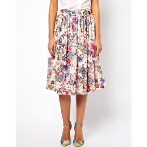 Women's ASOS Midi Skirt in Floral Jewel Print